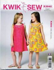 KWIK SEW SEWING PATTERN 3940 GIRLS SZ 3-10 FLARED DRESSES W/ ROUND NECKBAND