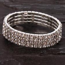 Attractive Four Rows Rhinestone Material Elastic Design Bracelet Perfect Gift
