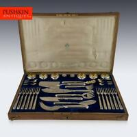 ANTIQUE 20thC IMPERIAL RUSSIAN SOLID SILVER CAVIAR & FISH CUTLERY SET c.1900