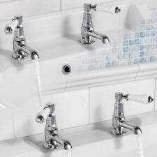 Chrome Hot & Cold Deck Mounted Bathroom Taps