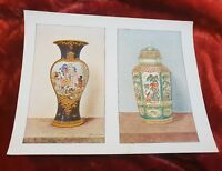 Two Worcester China Vases - Vintage Book Print