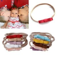10Pcs Newborn Headwear Bows Leather Bow Elastic Nylon Headband Hair Accessories