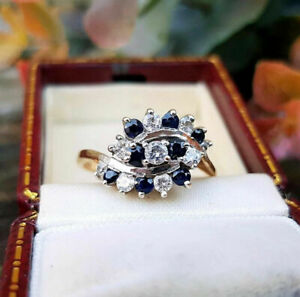 Vintage 1.25 Ct Sapphire Diamond Cluster Cocktail Ring 14K Rose Gold Finish