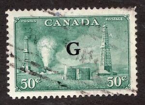 """Sc# O24 - Canada - 1950 - 50c - """"G"""" Oil Well - Used -  superfleas - cv$7+"""