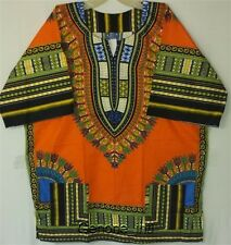 African Men Women Dashiki Top Shirt Blouse Hippie Free Size Orange Blue Green