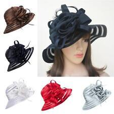 Fashion Women Dress Church Wedding Kentucky Derby Satin Feather Floral Sun Hat