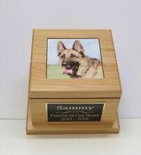 Large Dog Urn Pet Urn Custom Tile Photo & Engraved Tag Red Alder