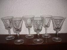 6 anciens verres à vin blanc ou porto en cristal des années 50