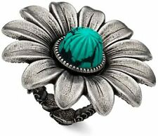 NEW GUCCI GG MARMONT SILVER AND TURQUOISE RESIN FLOWER RING AUTHENTIC 17 MM