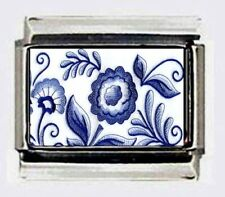 Blue Delft flowers design ITALIAN photo 9mm Charm CHARMS for modular bracelets