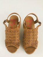 Jelly Pop Women's  Brown  Platform Wedge Heels Sandals Cork Shoes Size 8M