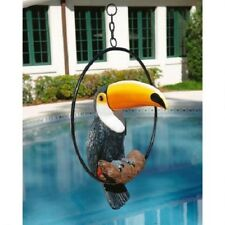 Realistic Tropical Paradise Toucan Statue Sitting On Metal Ring Bird New