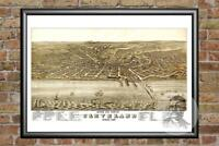 Vintage Cleveland, OH Map 1877 - Historic Ohio Art - Old Victorian Industrial