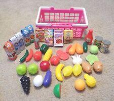 Grocery Shopping Basket with Food 34pc Set: Fruits&Vegetables,milk,juice,cereal+