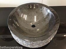 New MARBLE SINK Solid Stone Rock Round Bowl Counter Top Basin Vanity BLACK BROWN