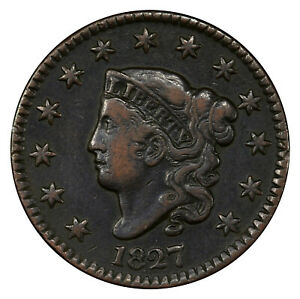 1827 1C PCGS VF30 CORONET LARGE CENT ~ EXCEPTIONAL ORIGINAL LUSTER & QUALITY!