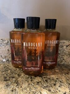 (3) BATH AND BODY WORKS MAHOGANY WOODS HAIR + BODY WASH FOR MEN 10 FL OZ