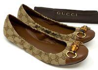 Authentic GUCCI GG Logo Bamboo Horsebit Ballet Shoes Flats #38.5 US 8 Rank AB