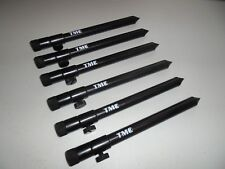 6 x TMC Aluminium Bank Sticks 20 - 35 cm's. Rod Rests, Buzz Bar, Alarms. 16mm