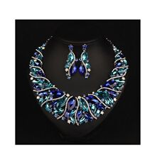 Bridal Link Costume jewelry Crystal Choker Necklace and Earrings Sets Blue