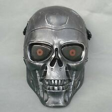 Full Face Protection Paintball CS T800 Skull Mask Props Halloween Black Silver