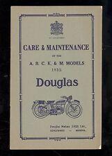 1932 THE CARE & MAINTENANCE OF DOUGLAS A, B, C, K, & L MODELS MOTORCYCLES