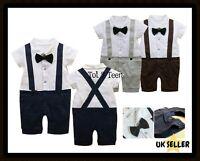 Baby Boy Wedding Christening Formal Smart Short Summer Suit Outfit Tuxedo 3-24m