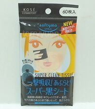 Kose Softymo Super Oil Remover Clean Tissue Oil Blotting Paper 60 Sheets Black