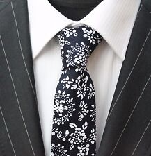 Tie Neck tie Slim Black With White Floral Quality Cotton T6136