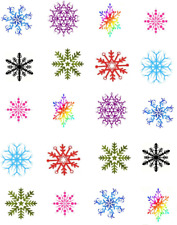 Colorful Snowflakes  Waterslide Nail Decals/Nail art