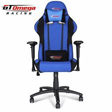 GT OMEGA PRO RACING GAMING OFFICE CHAIR BLUE AND BLACK FABRIC ESPORT SEATS AK