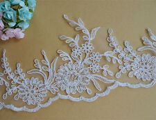 "Ivory Floral Wedding Trimming Bridal Embroidered Corded Lace Edging 5.1"" Width"
