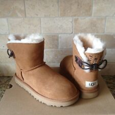 UGG ADORIA TEHUANO CHESTNUT MINI BAILEY BOW SHEEPSKIN BOOTS US 8 WOMENS