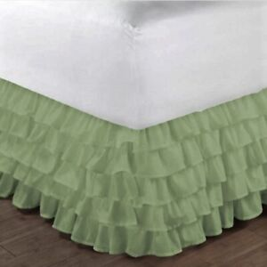 """2 STYLES Dust Ruffled Bed Skirt Bedding Bed Dressing Easy Fit 14""""Drop"""