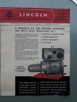 """LINCOLN WELDERS """"SHIELD-ARC SAE"""" D.C.WELDER GENUINE ORIGINAL SALES BROCHURE"""