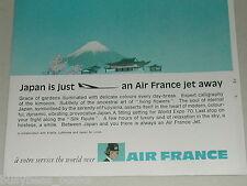 1970 AIR FRANCE advertisement, stewardess, Mount Fuji Japan, European advert