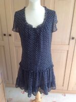 LOVELY CREW CLOTHING CO NAVY DRESS WITH WHITE FLOWERS UK SIZE 10 WORN GOOD COND