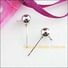 24 New Findings Dull Silver Plated Round Ball Wire Earrings Hooks 5x16mm