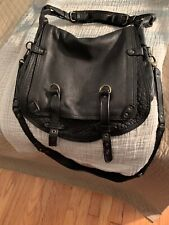 ABACO PARIS Jamily Black Pebbled Lamb Leather Flap Shoulder Crossbody Bag NEW