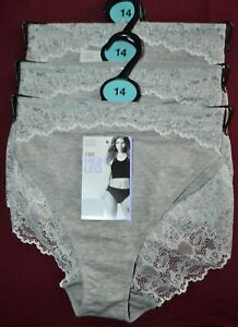 WOMENS M&S HIGH LEG KNICKERS WITH LACE TRIMS 3 PAIR SIZE 14 GREY MARL - BNWT