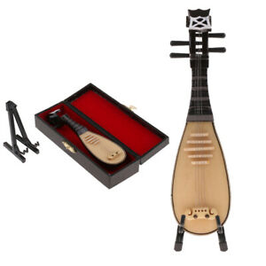 1/6 Scale Wooden Lute Musical Model for Action Figure Dollhouse Miniature