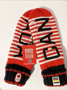 HBC 2020 Team Canada RED & White Striped MITTENS Olympics Adult L/XL Unisex OOS