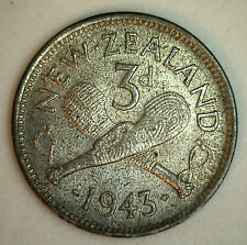 1943 Silver New Zealand Three Pence Coin YG