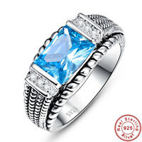 3.54CT Gemstone Swiss Blue Topaz 100% 925 Sterling Silver Ring Size L½ N½ P½ R½