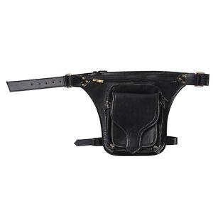 Women Punk Retro Rubber Adjustable Waist Strap Rivets Zipper Satchel Buckle Bag