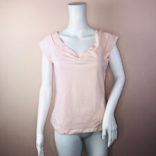 Guess Top XL Blush V Neck Short Sleeve Ruched NEW