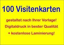 100 Visitenkarten, LAMINIERT daher fast unverwüstlich, 300g-Karton