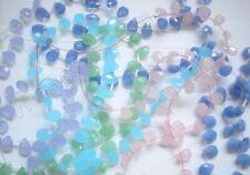 Semi Precious Stone Jade Chalcedony Glass Quartz Small Faceted Briolette Beads