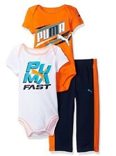 PUMA Boys' 3-Piece Creepers and Pant Set Size 3/6 Month