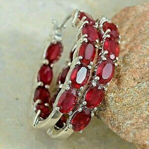 3Ct Oval Cut Red Ruby Women's Classic Hoop Earrings 14k White Gold Over